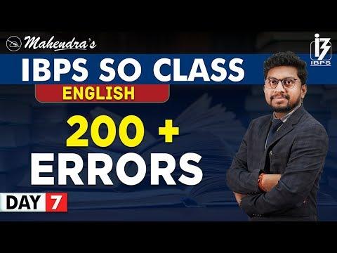 200 + Errors   English   By Amit Mahendras   IBPS SO Class   2:00 pm