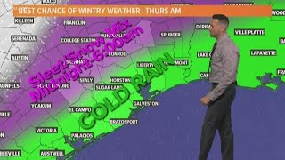 Chance for snow flurries moves a little closer to Houston, but you'll likely be asleep if & when it
