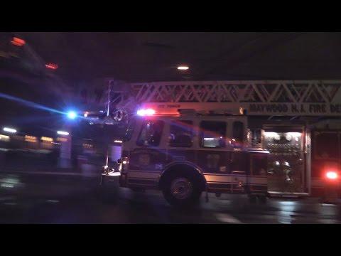 Video Maywood NJ Fire Department Ladder 17 Responding to Elmwood Park NJ 3rd Alarm