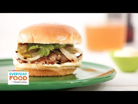 Pepper Jack Pork and Onions Burger – Everyday Food with Sarah Carey