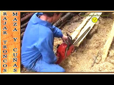 como rajar troncos, con maza y cuñas (like slitting logs, with mallet and wedges)