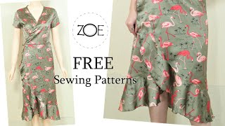 DIY Sewing Silk Wrap Dress FREE Sewing Patterns | Zoe DIY