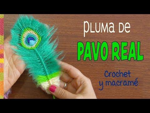 Plumas de Pavo real REVERSIBLES a crochet y macramé / English subtitles: Peacock feathers