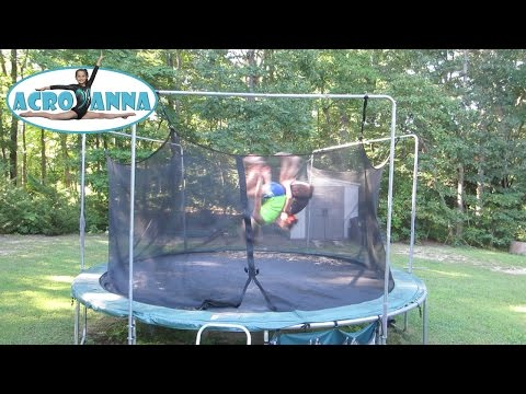 9 and 10 Year Old Gymnastics Tricks on the Trampoline