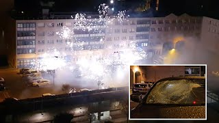 video: Police station outside Paris targeted in fireworks attack