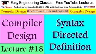 Compiler Design Lecture #18 - Syntax Directed Definition, Annotated Parse Tree