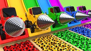 Drill Construction Vehicles Toy Assembly Car VS School Bus Soccer Ball with Learn Colors for Kids