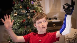 video: Bionic boy of Blackburn: Christmas comes early for Jacob and his 3D-printed 'hero arm'