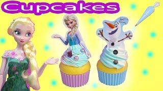 Queen Elsa Disney Frozen Whipple 2 Cupcakes Olaf Snowman Princess Anna Birthday Craft Unboxing