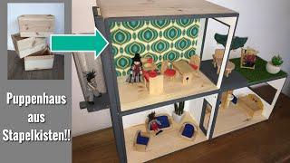 DIy:Puppenhaus selber bauen, Puppenhaus Idee, Puppenhaus aus Stapelkisten.