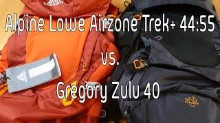 The best RTW backpack: Lowe Alpine Airzone Trek+ 44:55 vs Gregory Zulu 40