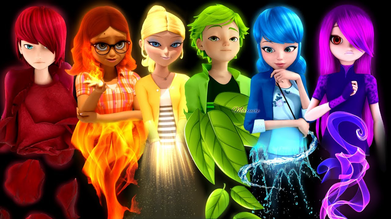 All Characters as a Rainbow Mari Adri Aly Chloe and