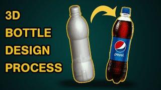 Realistic 3D Bottle Design ||  illustrator tutorial !! Adobe Illustrator 3D Objects