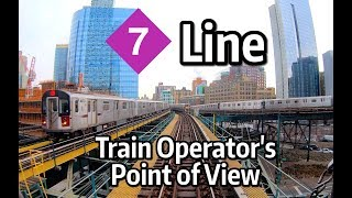 ⁴ᴷ⁶⁰ NYC Subway Front Window View - The Manhattan-Bound 7 Express Line