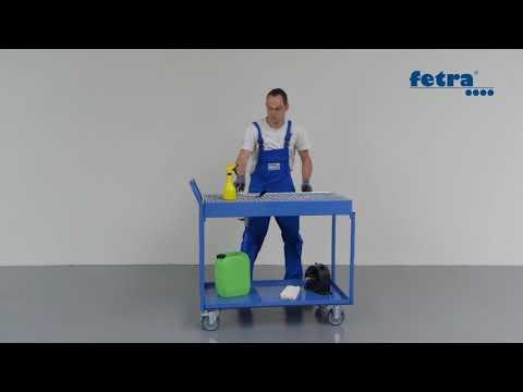 Fetra Tischwagen mit Blechwannen und Gitterrost 2 Etagen-youtube_img