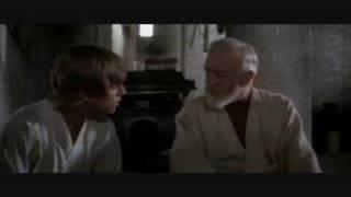 Obi Wan talking to Luke Star Wars Episode IV A New Hope
