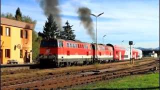 preview picture of video 'ÖBB 2143 038 + 045 mit LP 34141 - Abfahrt St.Pölten Alpenbahnhof [HD]'
