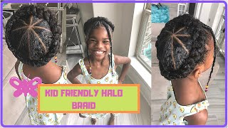 How To: Halo/Crown Braid Kids Natural Hairstyle