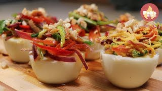 Spicy stuffing on boiled Eggs