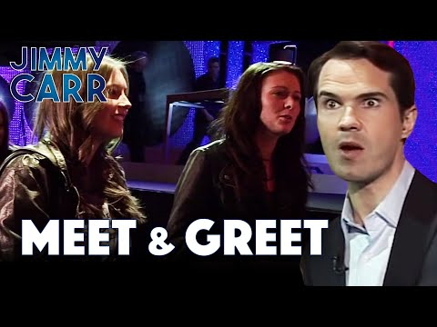 British Comedian Jimmy carr displaying an eccentric mixture of wholesome gratitude and roasting fans during a meet and greet.