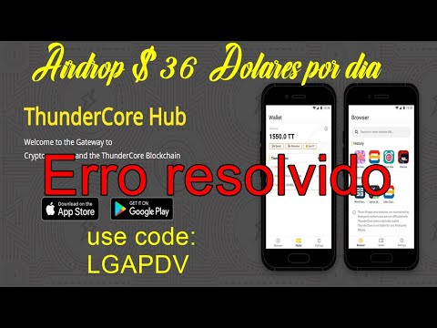 ThunderCore   SORTEIO DE $36 + MINERE NO CELULAR + ERRO DE CADASTRO RESOLVIDO