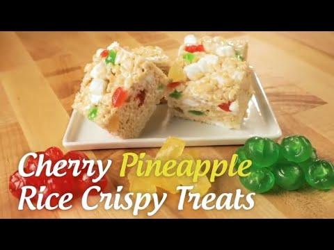 Candied Cherry Pineapple Rice Crispy Treats