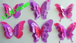 How To Make Easy,Beautiful Paper Butterflies For Wall Decoration.Paper Butterfly.paper Butterfly Diy