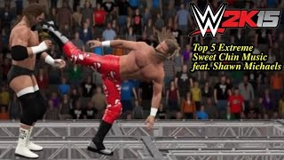 "WWE 2K15 Top  5 Extreme Sweet Chin Music feat. ""The Heartbreak Kid"" Shawn Michaels! (PS4)"
