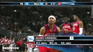 Allen Iverson vs Derrick Rose the Bulls 09/10 NBA *AI's Last NBA game