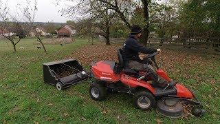 Husqvarna Rider 320AWD Laub mulchen mit Rasenkehrmaschine