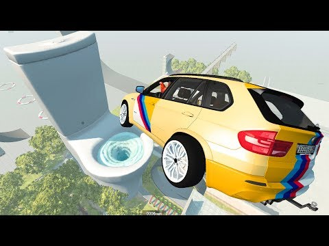 Giant Toilet Water Vortex High Speed Jumps - BeamNG.Drive