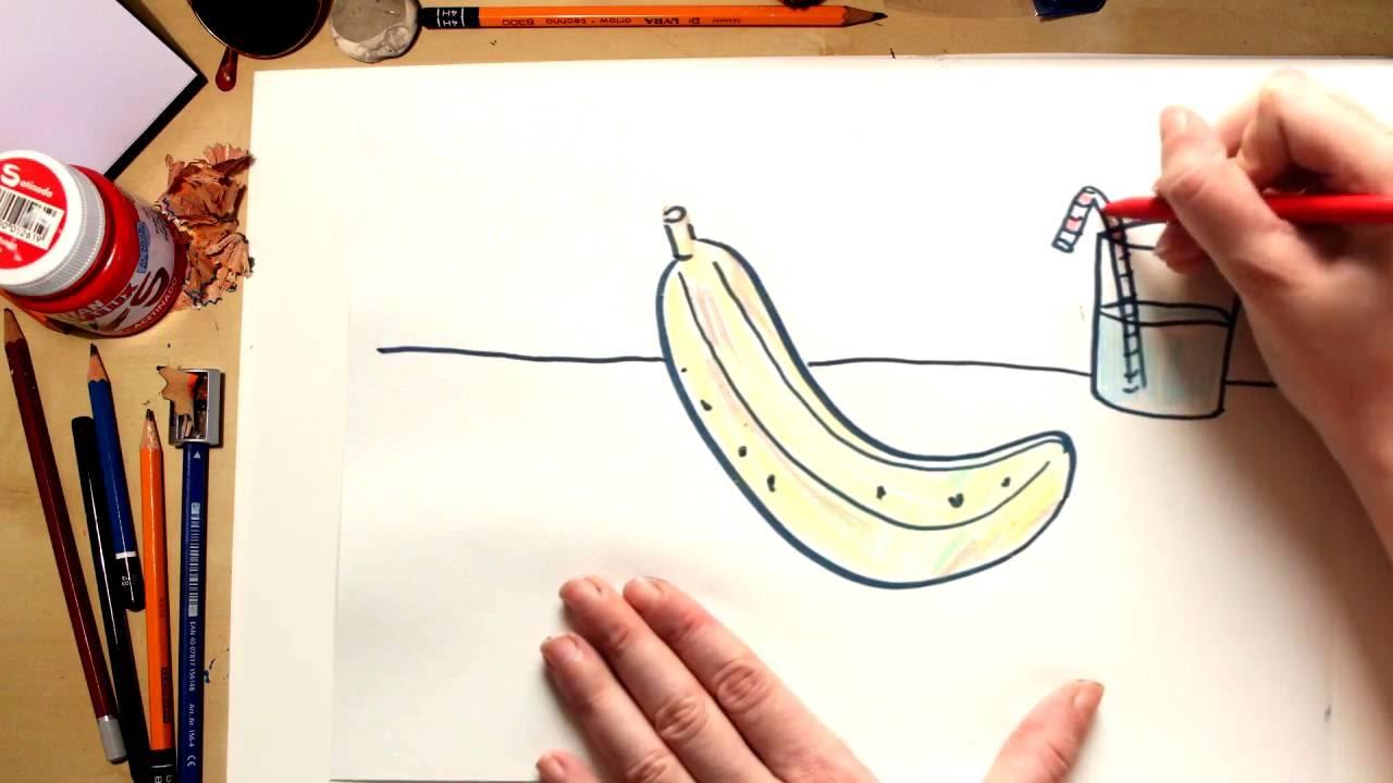 Como dibujar un Plátano - dibujos de frutas para niños