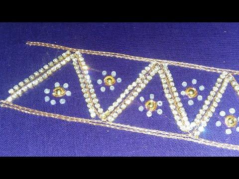 d005d1492 Aari Work Sleeves Border Design / Using Zari Thread/stone Lace/beads/make