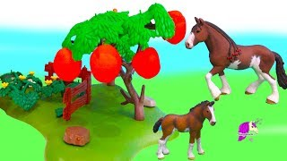 Don't Eat The Apples ! Schleich Horses Draft Horse Family Honey Hearts Video