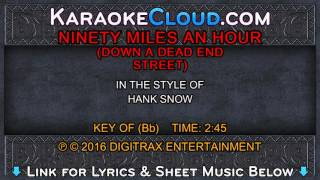Hank Snow - Ninety Miles An Hour (Down A Dead End Street) (Backing Track)