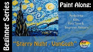 Easy Step by Step Painting - Starry Night - Van Gogh🎨✨ Simple for kids and adults to follow