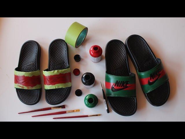 new products 8e744 4b5cf How To Make Custom Gucci x Nike Sandals / Nike / InfiniTube