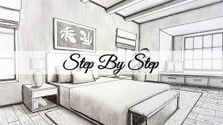 How To Draw A Bedroom In Two Point Perspective | Step By Step