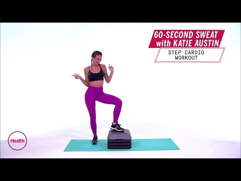 Katie Austin 60-Second Sweat: Step Cardio Workout | Health