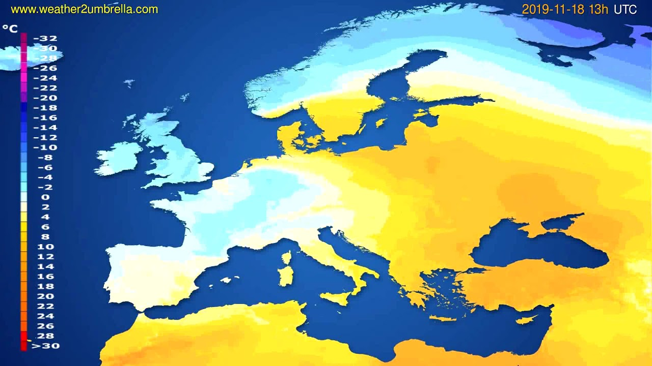Temperature forecast Europe // modelrun: 12h UTC 2019-11-16
