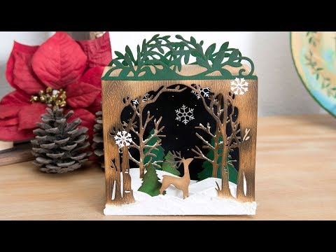 DIY Collapsible Holiday Shadow Box by Katelyn Lizardi | Sizzix