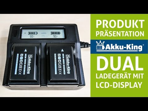 Duo Akku-Ladegerät für viele Kameraakkus - mit USB-Anschluss, LCD-Display und Kfz-Ladekabel