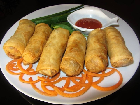 Yummy Chicken And Vegetable Spring Rolls In English