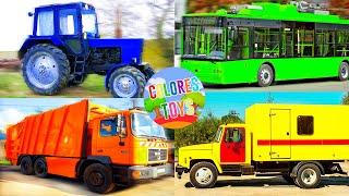 Машинки - изучаем транспорт, строительную технику  и цвета, развивающие мультики для детей