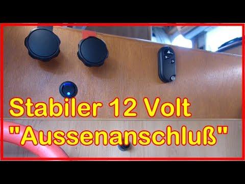 """Wohnmobil Bastelarbeiten: Stabiler 12 Volt """"Aussenanschluß"""" , """"Übergabepunkt"""" + Kippschalter für LED"""