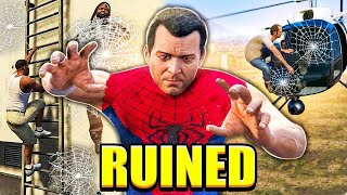 GTA V but it's destroyed by a Spiderman mod