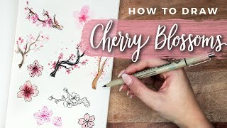 How To Draw Cherry Blossom Flowers!   DOODLE WITH ME + Tutorial!