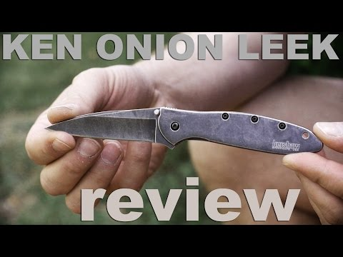 The Kershaw Ken Onion Leek Pocket Knife Review.  With Woodplay and Beer. Made in USA