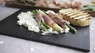 Involtini di asparagi bicolor con Prosciutto grigliato