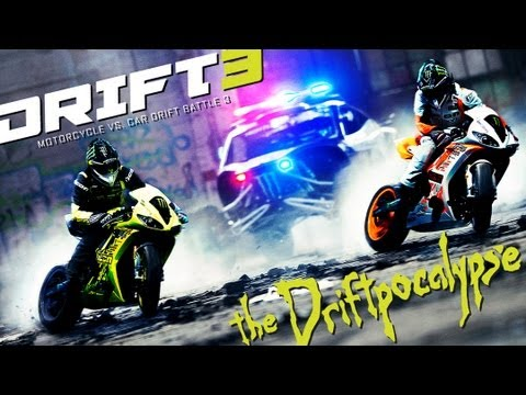 Motorcycle vs. Car Drift Battle 3 - [Full HD]